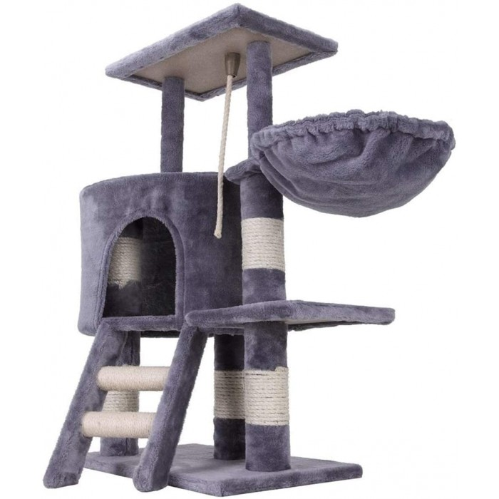 Mumoo Bear Cat Tree Climbing Tower Scratching Post Activity Centre with Rope and Hammock Sisal Covered 96cm, Grey