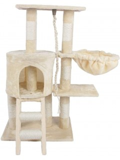 Mumoo Bear Cat Tree Climbing Tower Scratching Post Activity Centre with Rope and Hammock Sisal Covered 96cm, Beige