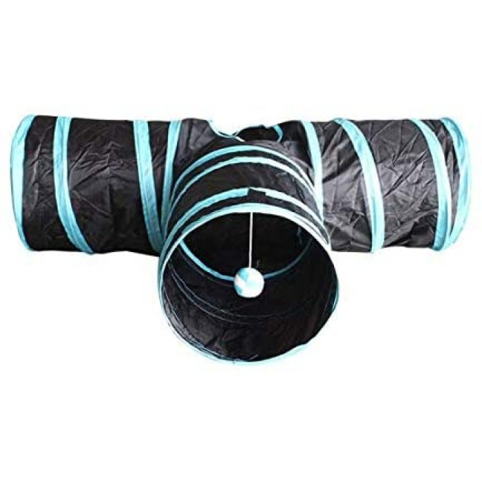Mumoo Bear 3 Way Cat Tube Kitty Tunnel Bored Cat Pet Toys with Peek Hole and Toy Ball for Cat
