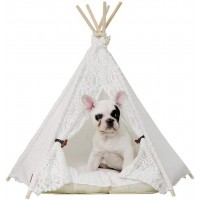 Mumoo Bear Pet Teepee Dog Cat Bed - Portable Pet Tents & Houses for Dog Cat Lace Style