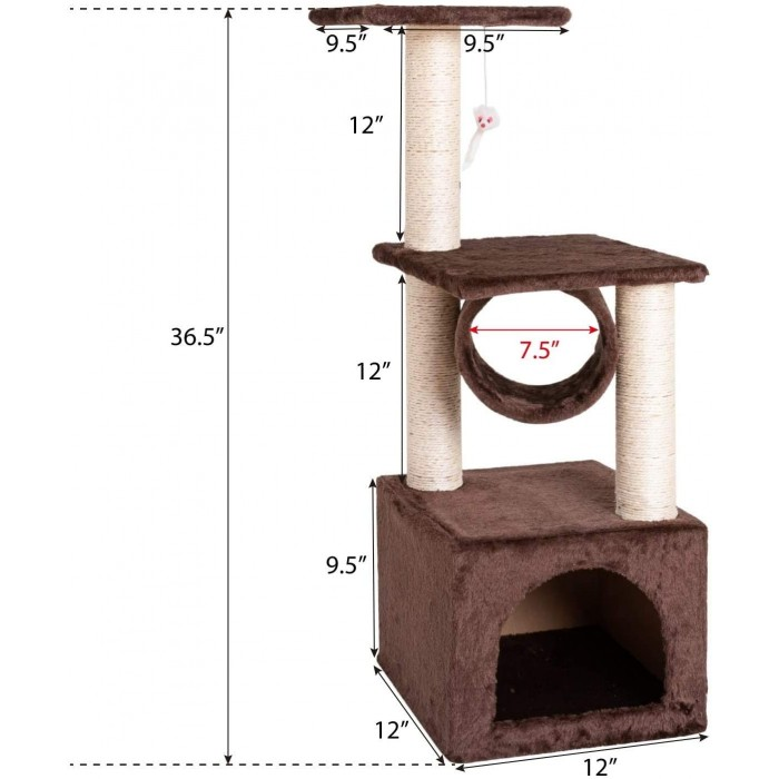 """Mumoo Bear 36"""" Cat Trees and Towers with Scratching Posts Condos Hammock Resting Perch, Indoor Pet Activity Furniture Play House for Kitty Kitten (Brown)"""