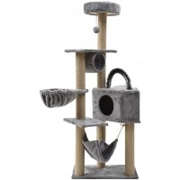 Mumoo Bear Cat Tree Condo Multi-Tier Play Tower with Natural Seaweed Rope Scratching Post and Pad Kitty Play House Furniture