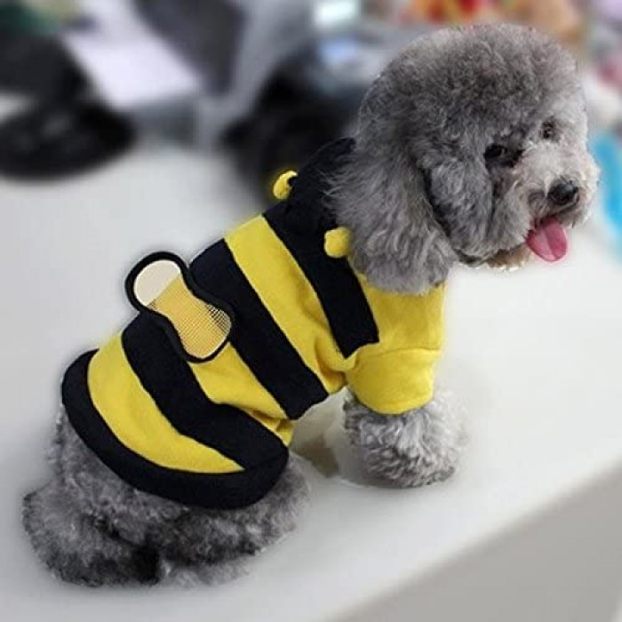Mumoo Bear Dogs Pets Clothing Clothes Cute Fleece Bumble Bee Lovely Wings Dog Cat Pet Costume Apparel Coat