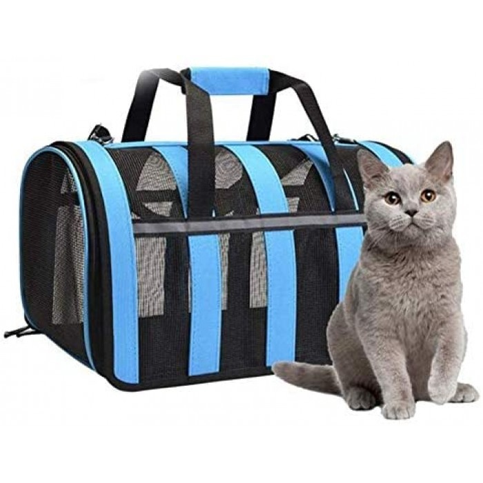 Gluckluz Pet Carrier Airline Approved Travel Bag Blue Under Seat with Mesh Top and Soft-Sided for Small Animals Dogs Cats Puppy Kitten Indoor Oudoor Car (Large Size)