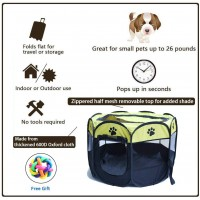 Gluckluz Pet Playpen Dog Tent Cat Kennel Puppy Foldable Bed House for Rabbit Small Medium Large Kitten Animals Indoor Outdoor Travel Camping Exercise (Black & Green)