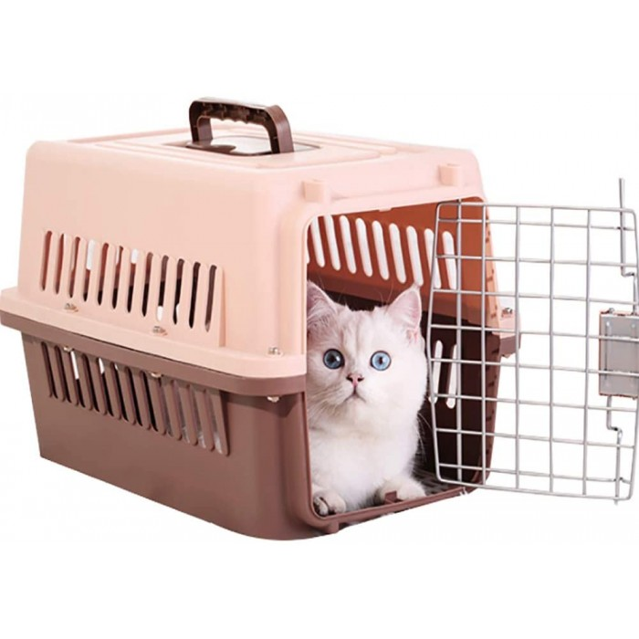 Gluckluz Pet Carrier Cat Kennel Dog Travel Bag Airline Approved for Indoor Outdoor Car Small Kitten Puppy Sleeping (Brown, 58 x 37 x 37cm)