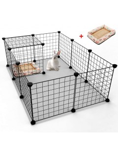 Mumoo Bear 12 Panels Pet Rabbit Bunny Playpen Small Animal Cage Indoor Portable Yard Fence Guinea Pigs, Puppy Kennel Crate Fence Tent With 1PC Pet Bed