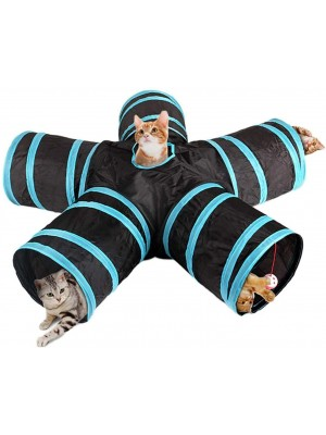 Cat Tunnel Toy 5 Way Tunnels Extensible Foldable Portable Durable Tunnel Toys with Bell Gift for Pet (Blue/Black)