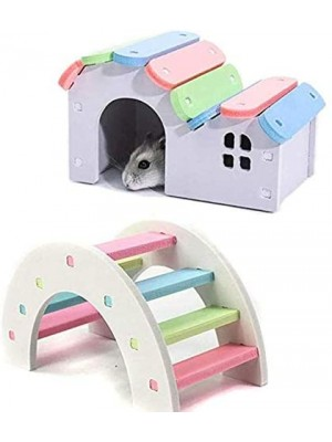 Mumoo Bear 2PCS Wooden Hamster House Rat Mouse Exercise Natural Funny Hamster Nest Toy