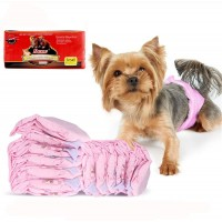 Mumoo Bear Pet Diapers Set 16Pcs Disposable Absorbent Quick Drying Leak-Proof Diapers for Female Dogs S