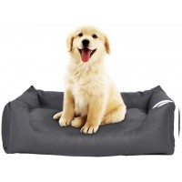 Gluckluz Pet Bed Cat House Dog Kennel Sofa Lounger Detachable Soft Nest Pad Mat for Indoor Outdoor Outside Sleep Sleeping Puppy Kitten (Grey, Large Size, Square Shape)