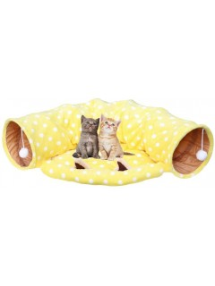 Mumoo Bear Cat Tunnel Bed with Cushion Tube Toys Collapsible Cat Mate Kitten Tunnel Toy for Playful Puppy&Kitty