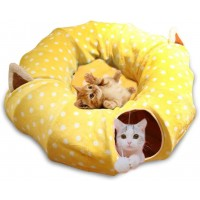 Mumoo Bear Cat Tube and Tunnel with Central Mat for Cat Dog, Soft Mink Cashmere and Full Moon Shaped, Yellow