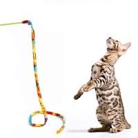 Mumoo Bear Cat Feather - 100cm Rope Cat Toys Interactive Pet With Rainbow Leopard Cloths Plastic Stick Tease Rods Plaything, Rainbow