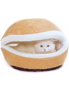 Mumoo Bear Pet Hamburger/Warm Shell Cave Sleeping Bed with Removable Cover, Light Yellow