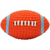 Mumoo Bear Natural Non Toxic Soft Latex Squeaky Dog Chew Toy for Interactive Training Fetch and Play, Orange Rugby Football